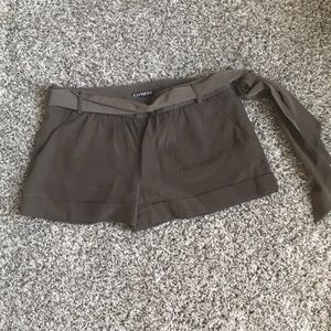Express Army Green Polyester Shorts
